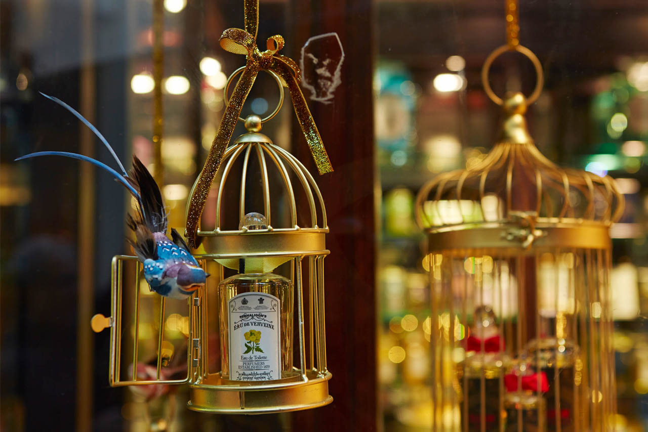 Close-up image of a bird cage designed by Prop Studios for Penhaligon's glittery, festive window scheme