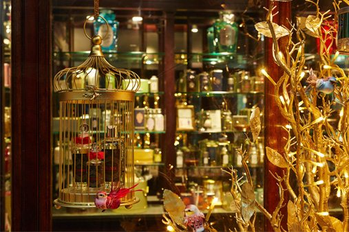 One of Prop Studios' display cases, highlighting the Penhaligon's range of perfumes as part of their Christmas window scheme