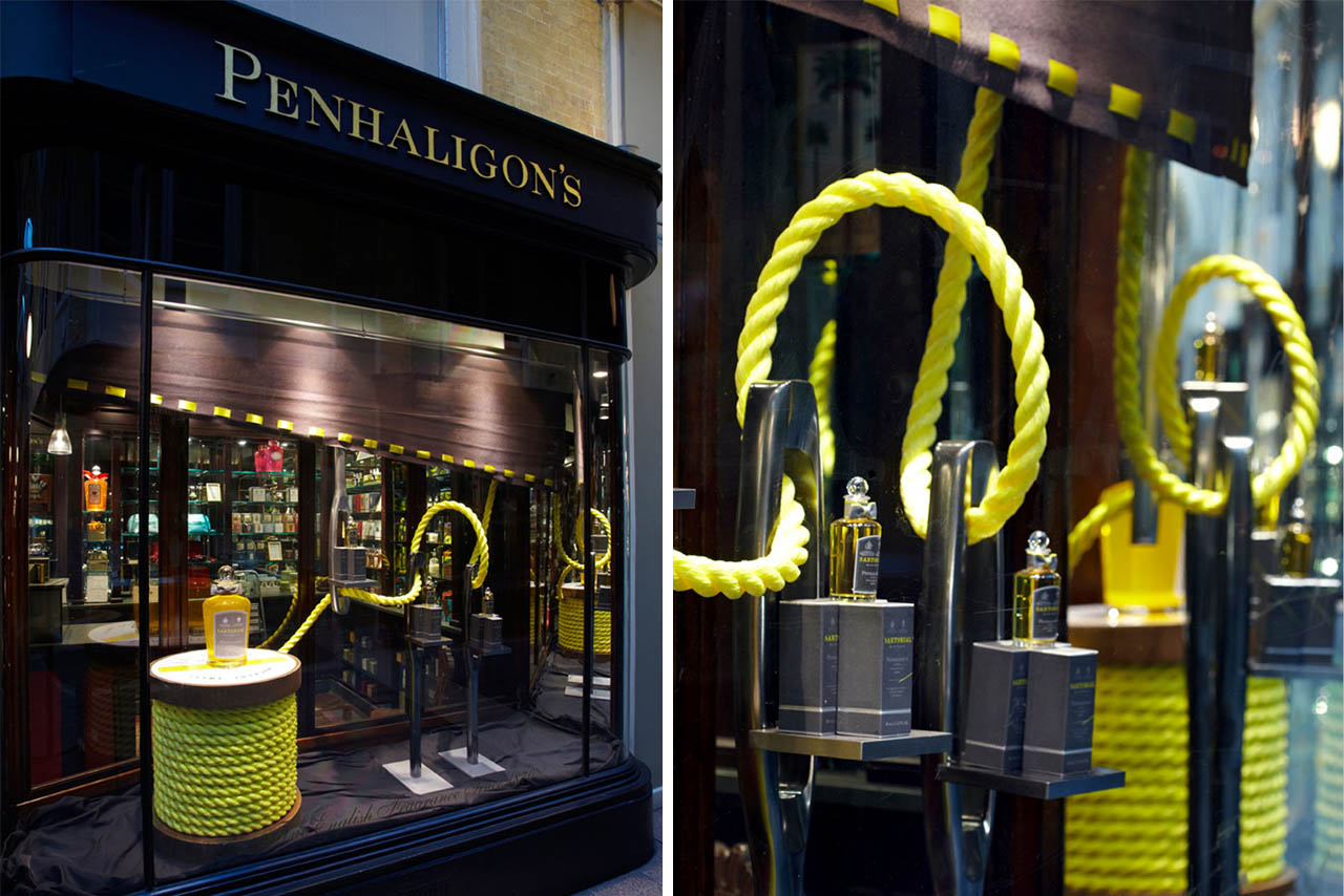 Exterior image of the Penhaligon's Sartorial window, showing the full display created by Prop Studios