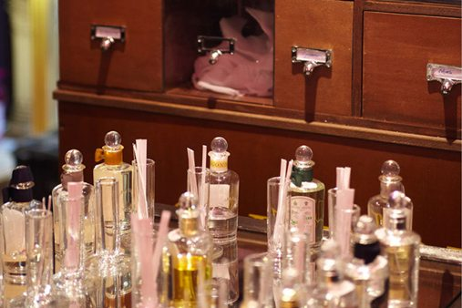 Close-up shot of the Sartorial scent box cabinet, which was rolled out in thirteen Penhaligon's stores