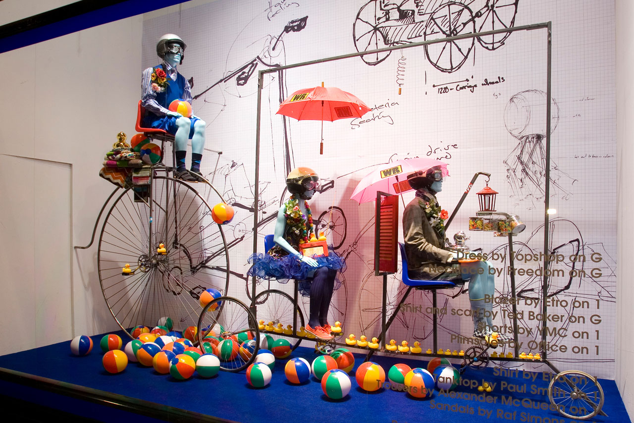External shot of one of Prop Studios' bespoke Wacky Races windows for Selfridges