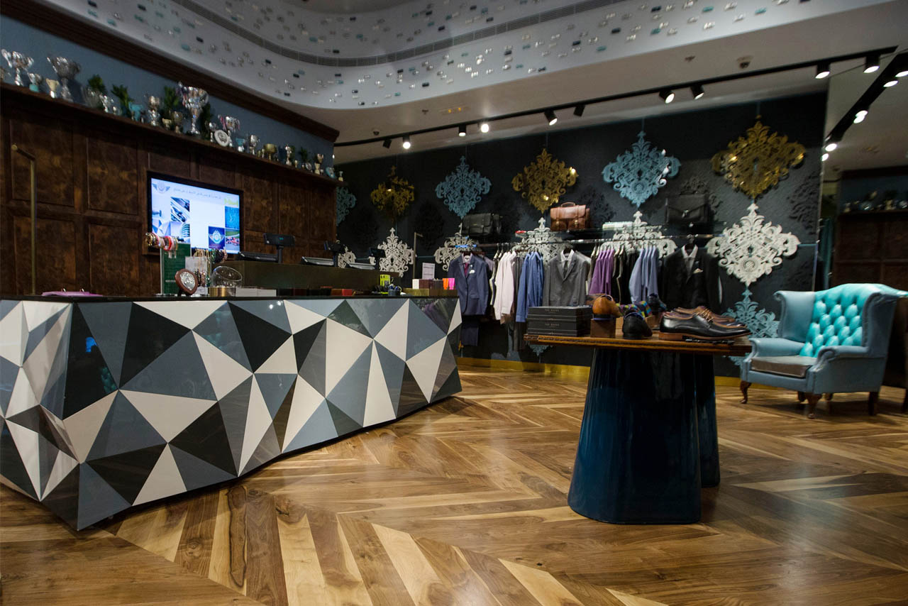 Full shot of instore design of Ted Baker, Yas Mall.