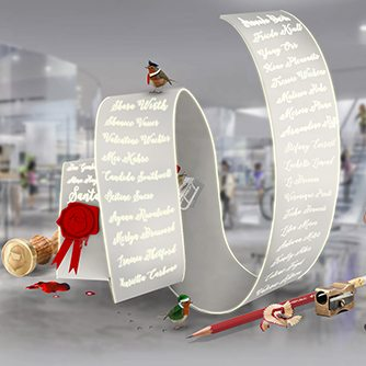 Design concept showing Santa's list within the workshop-themed instore VM created exclusively by Prop Studios for Hyundai