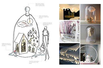 Prop Studios' sketch depicting the original design for one element of the visual merchandising display
