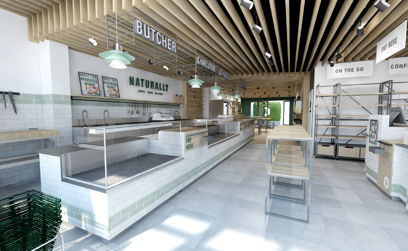 Naturally Interior Design Retail branding 3D concept render