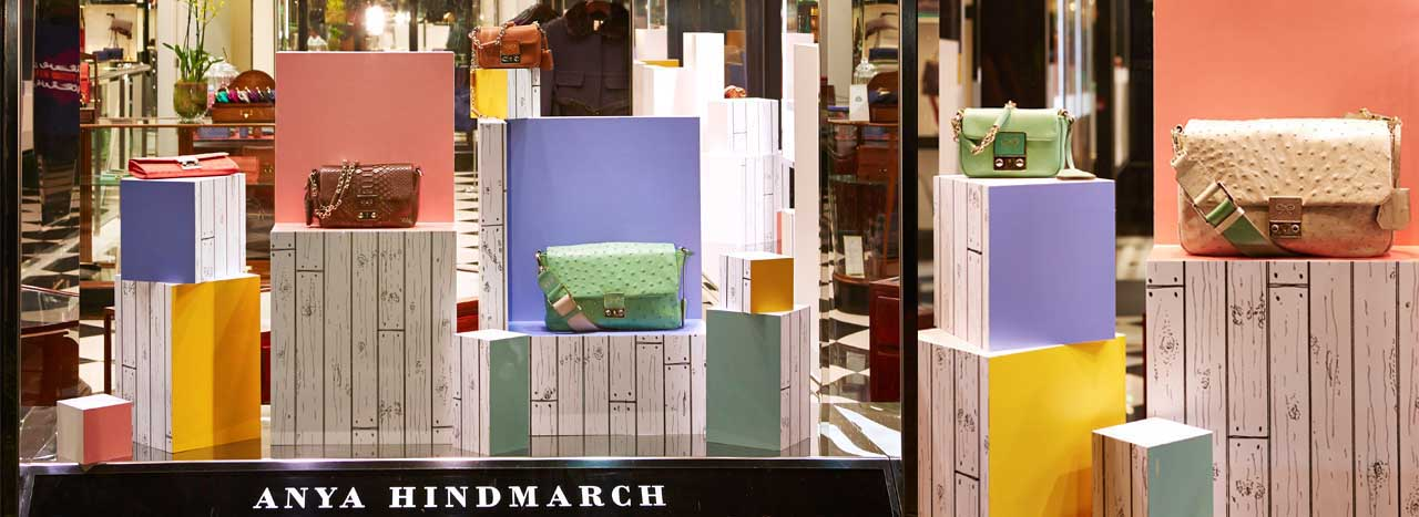 Wide shot depicting the full scale of Prop Studios' colour block design for Anya Hindmarch