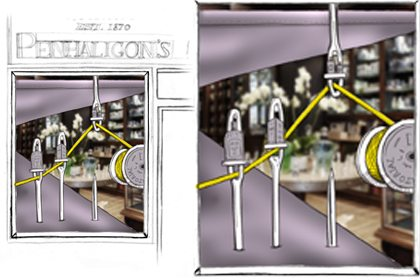 Concept drawing showing the oversized needles and thread displayed in the Penhaligon's windows