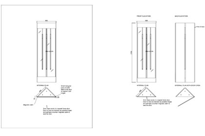 Original technical drawing showing how the neon lights would fit inside the bespoke window box
