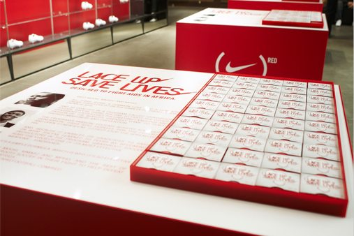 Over 5,000 metres of lace was hand sculpted by Prop Studios to create multiple installations within the Niketown window