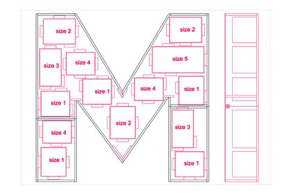 Prop Studios' original design for the M-shape advent calendar, created exclusively for Matches