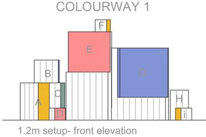 Technical drawing showing the complementary colour blocks to match each product in the Anya Hindmarch collection
