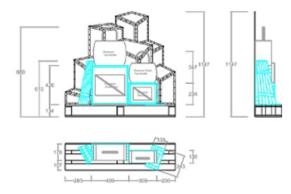 Technical design, showing the dimensions of the bespoke crates created by Prop Studios for Anya Hindmarch