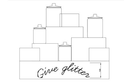 Sketch showing how the Give Glitter plinth would be arranged, produced for Anya Hindmarch by Prop Studios