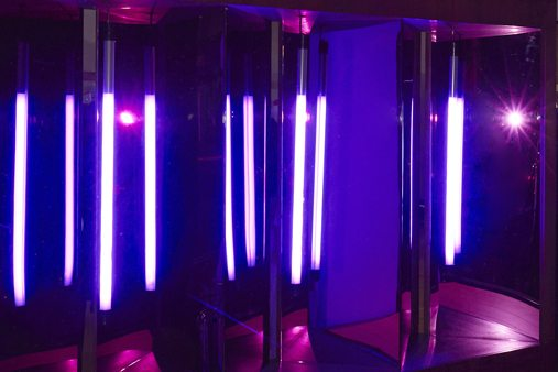 Close-up of the neon lighting, housed in a sapele veneer disco box