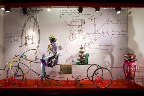 Prop Studios created an array of weird bicycles for this Selfridges window display