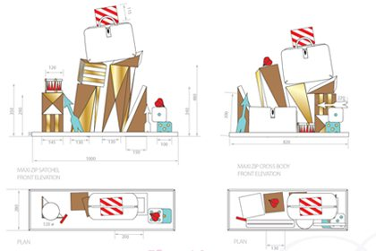 Close-up diagram of the window display designed for Anya Hindmarch by Prop Studios