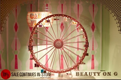 The carriage of the Ferris wheel contain products available for sale in Liberty's Beauty Hall