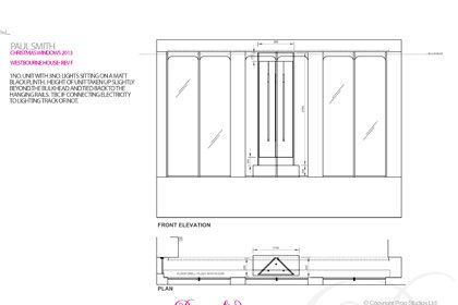 Original drawing to show how the scheme would be positioned within the Paul Smith windows