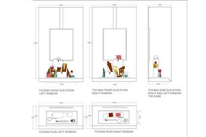 Elevation diagrams for each of the Anya Hindmarch windows, designed exclusively by Prop Studios