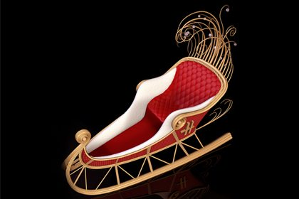Alternative image depicting Prop Studios design for the Harrods Christmas sleigh
