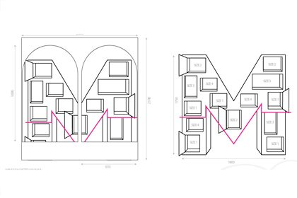 Technical drawing showing how Prop Studios' M sculpture would fit within the Matches window
