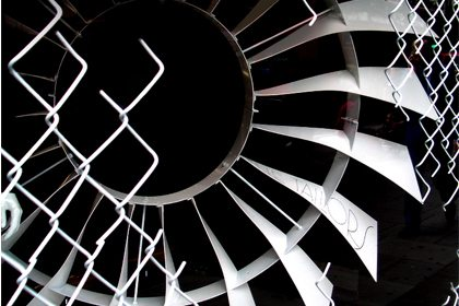 Detail photograph of an industrial turbine wheel sculpture, created exclusively by Prop Studios for Selfridges