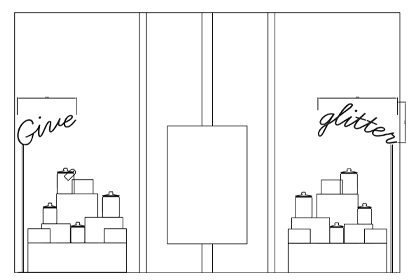 Initial sketch showing how the window display would be arranged within the Anya Hindmarch store