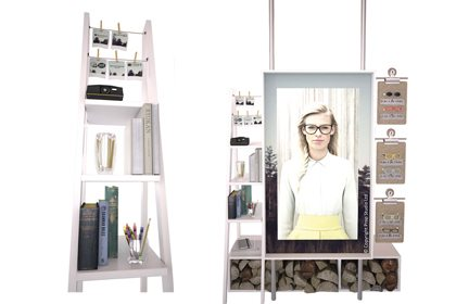 Artboard images showing the finished shelves to be displayed within the Specsavers window