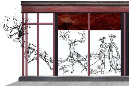 Concept drawing to show how Prop Studios' reindeer designs would look within the Harrods window