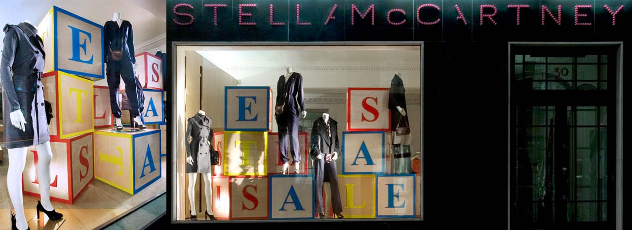 Full shot showing interior and exterior of the Stella McCartney building block sales window display