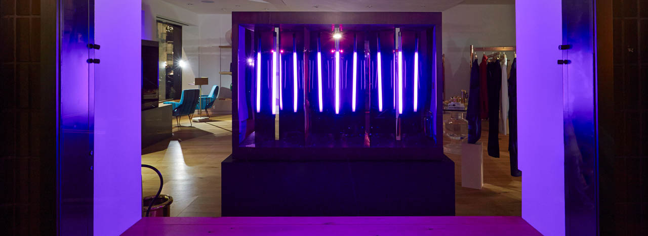 Full image of the neon window box, created by Prop Studios for Paul Smith