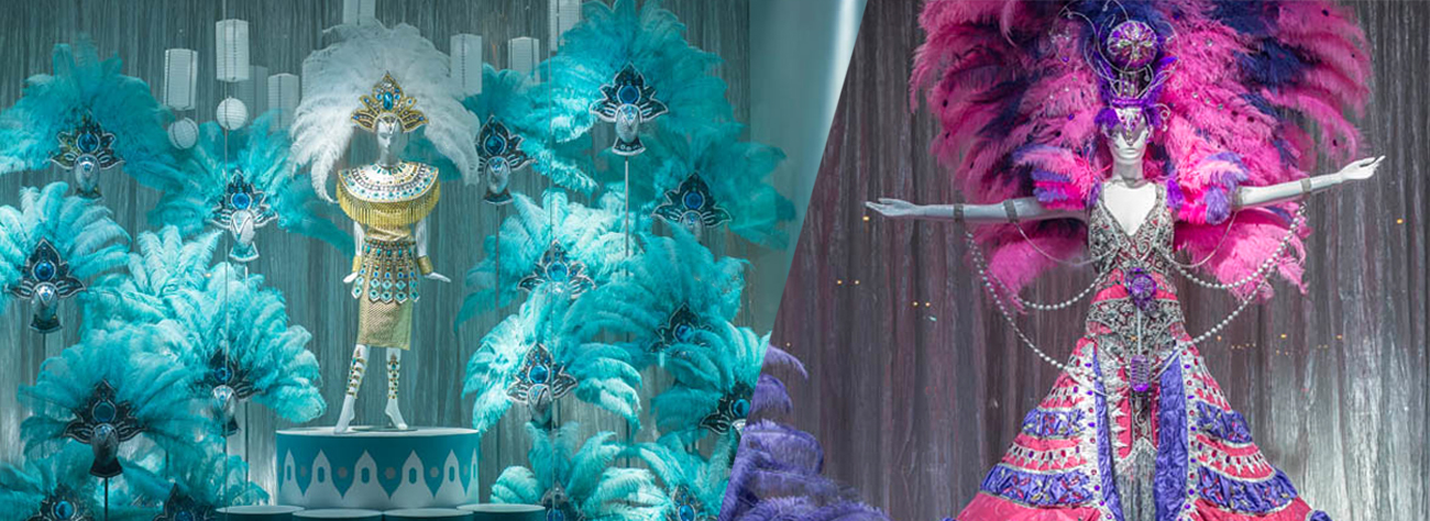 Close-up shot of head dresses and fans within the Al Rubaiyat window scheme, designed by Prop Studios