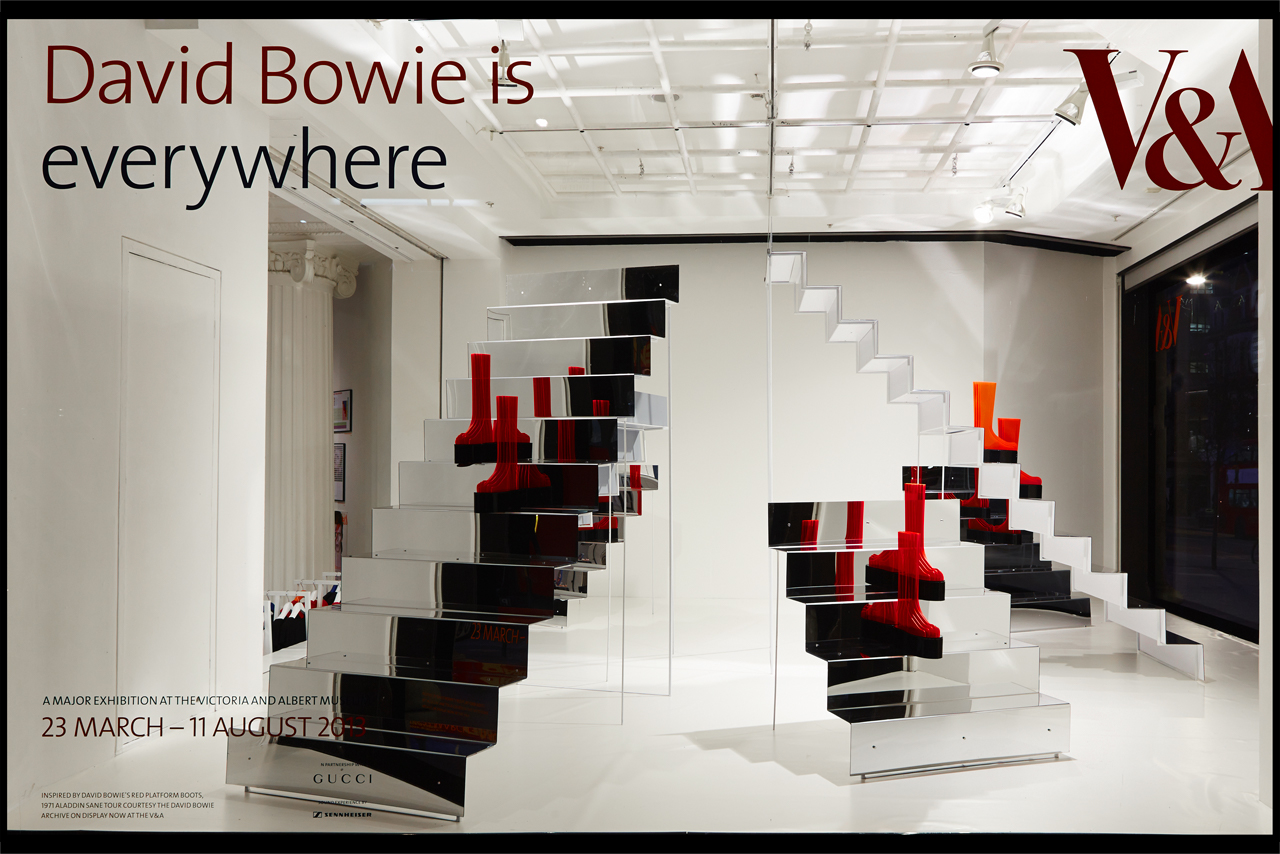 Prop Studios designed this David Bowie Is instore and window campaign for Selfridges