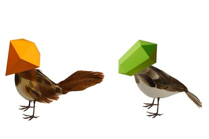 Two 3D computer renders showing Prop Studios' original bird sculpture designs for the Ted Baker installation
