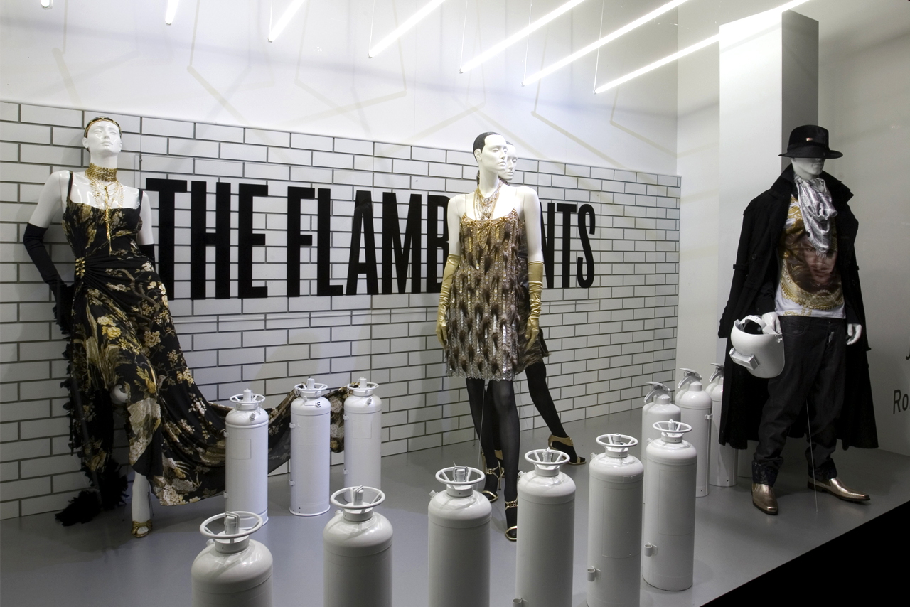 Window display of The Flamboyants, part of the award-winning Selfridges window scheme designed by Prop Studios