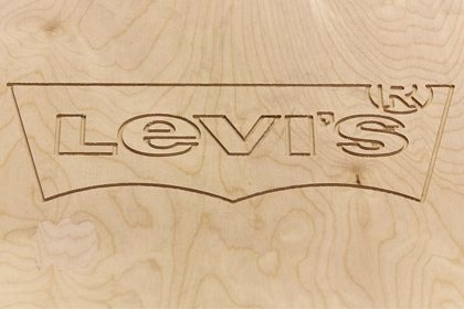 Close-up image of the Levi's logo emblazoned on one of Prop Studios' bespoke-designed plinths