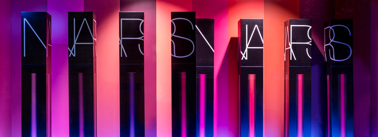 Close-up of the NARS window display at Selfridges
