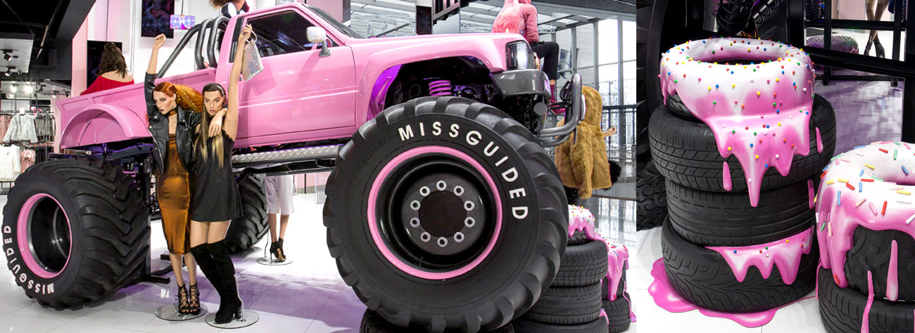 Image of the Missguided monster truck, designed and manufactured by Prop Studios exclusively for the clothing brand