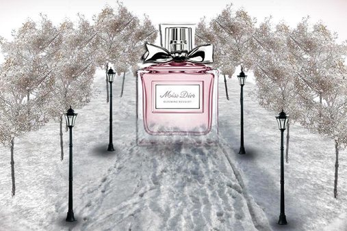 Prop Studios' initial design idea was to incorporate Harrods beauty products within unique winter scenes, such as a lipstick in a forest, or a perfume on a small wooden bench