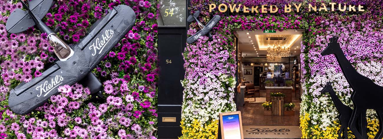 A montage of Prop Studios' window display for Kiehl's as part of Chelsea In Bloom