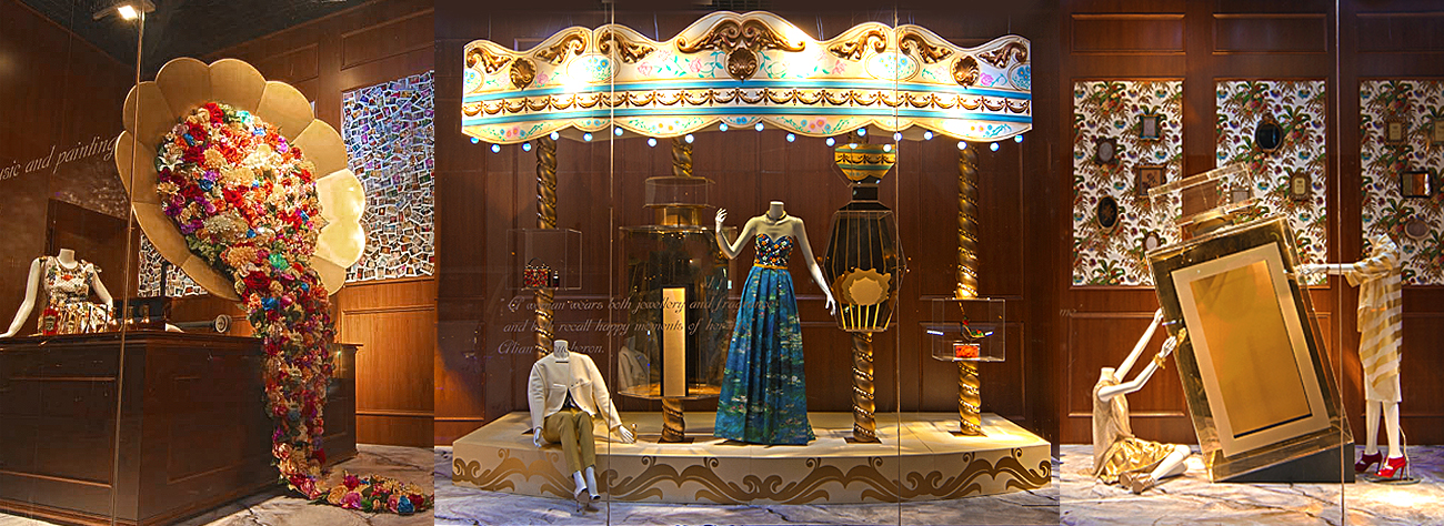 Close-up of the third window at Al Rubaiyat, designed in a carousel theme by Prop Studios