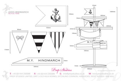 Technical drawing of some of the bespoke flags, designed by Prop Studios for the nautical themed window display for Anya Hindmarch