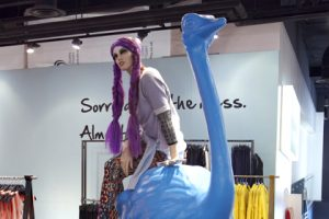 Ostrich sculpture and mannequin displayed within the Topshop store