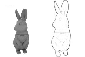 Prop Studios' initial sketches for the design of the rabbit, giving an impression of the sculpture's size