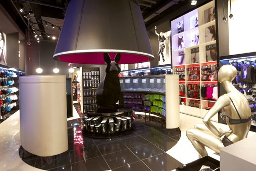 Image showing the size and scale of the rabbit sculpture within the Ann Summers store