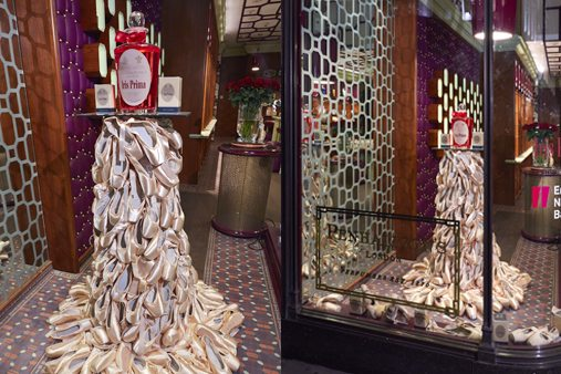 Prop Studios created a display stand for the Penhaligon's interior, as well as the window scheme