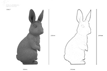 Prop Studios' initial technical sketch showing the height of the rabbit sculpture for Ann Summers