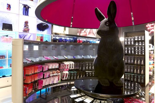 The rabbit sculpture was flocked black to give it a smooth, velvet finish with glossy eater eyes just like a realistic rabbit