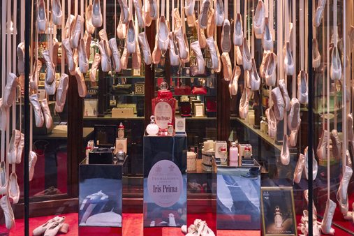 Image showing Prop Studios' window scheme, featuring thousands of suspended ballet shoes in the Penhaligon's window