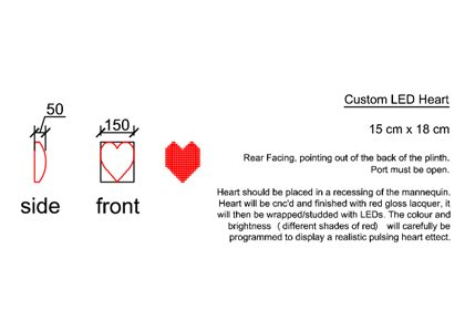 Prop Studios' original artboard showing the dimensions and recommended positioning of the LED heart